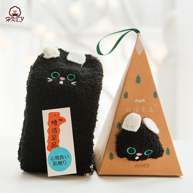 Cute Animal Design Deer Christmas Gift 3D Coral Velvet Thick New Year gift Socks 4