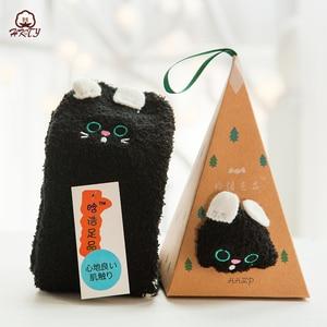 Image 5 - Sevimli hayvan tasarımı geyik noel çorap hediye 3D kabarık mercan kadife kalın sıcak kış çorap kadınlar için yeni yıl hediye Sox ile kutusu