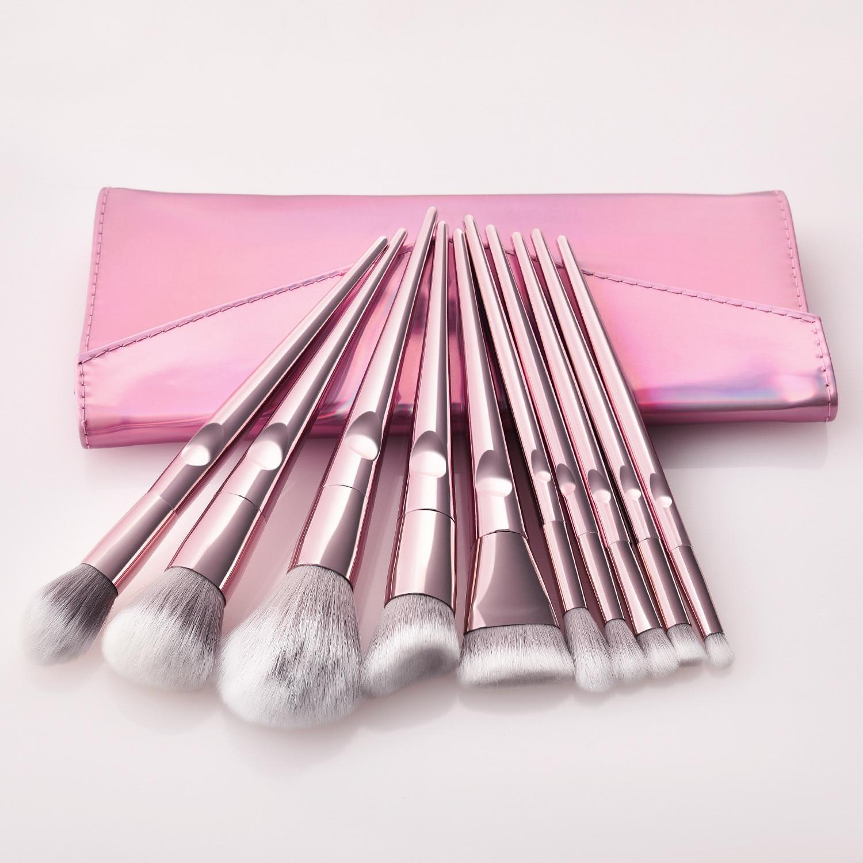 New 10Pcs Eye Makeup Brushes Set Rose Gold Foundation Powder Eyeshadow Make Up Brush