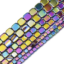 JHNBY 4/6/8MM Multicolored Flat Square Hematite Natural Stone Spacers Loose Beads For Jewelry Making Diy Bracelets Accessories
