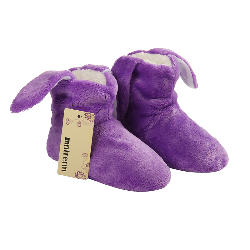 Glglgege Children Cotton Shoes Kids Home Slippers Boys And Girls Baby Cute Rabbit Ears Plush Thickening Warm Indoor Slippers