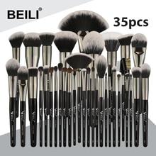 BEILI Black 35 Pieces Professional Natural Makeup Brushes Set Blending Eyebrow Concealer Eyeliner Foundation Powder brush makeup