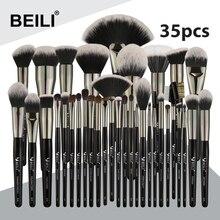 BEILI siyah 35 adet profesyonel doğal makyaj fırçalar seti karıştırma kaş kapatıcı Eyeliner vakıf pudra fırçası makyaj