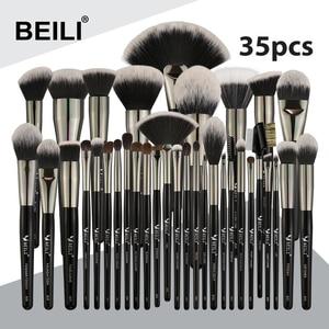 Image 1 - Beili preto 35 peças profissional natural maquiagem escovas conjunto de mistura sobrancelha corretivo delineador fundação pó escova maquiagem