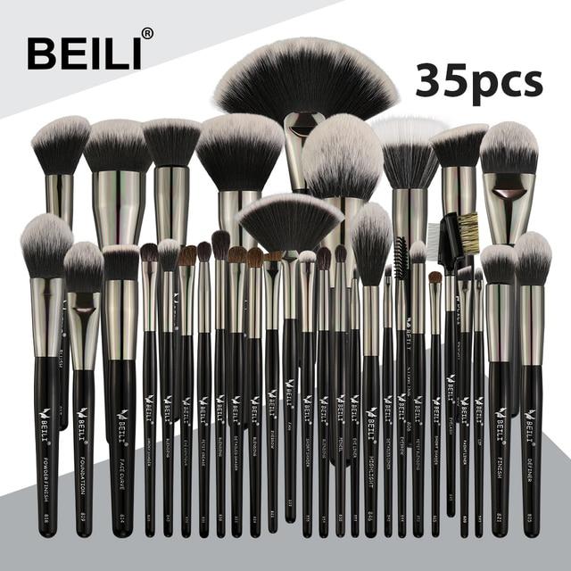 Beili preto 35 peças profissional natural maquiagem escovas conjunto de mistura sobrancelha corretivo delineador fundação pó escova maquiagem