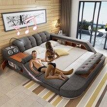 Роскошная современная мебель дизайнерская ткань массажное сиденье кровати размера king