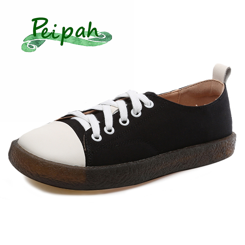 PEIPAH Cloth Fight Genuine Leather Flat Shoes Woman Lace Up Shallow Sneakers Female Casual Solid Flats Plus Size Ladies Shoes Women's Vulcanize Shoes     - title=