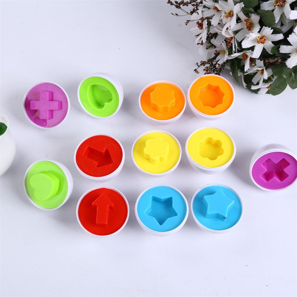 Baby  Educational Toys 6Pcs Matching Eggs Toddler Toys Color And Shape Recognition Match Toys Early Education Puzzle Egg Toys