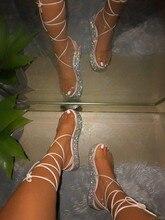 Tamanho grande 35-43 mulher sandálias de salto alto bandagem strass tornozelo cinta bombas super salto alto 5 cm saltos quadrados senhora sapatos novo #265