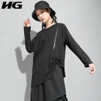 HG Pleated Zipper Design Asymmetry Long Sleeve T Shirt Women O Neck Harajuku Style Tshirt Black Top Women Autumn New XJ2105