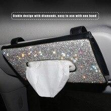 Kristall Auto Tissue Box Sonnenblende Diamant Leder Auto Tissue Papier Halter Fall Sonnenblende Hängen Serviette Innen Zubehör 713
