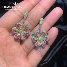 Himstory Luxury Sparkling Colorful Zircon Earrings S925 Silver Pin Versatile color Roses Crystal