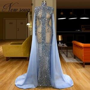 Image 2 - Niestandardowe Sheer Blue frezowanie sukienka na studniówkę Abendkleider syrenka długie suknie wieczorowe kobiety dubaj suknia formalna islamska kaftany 2020 nowy