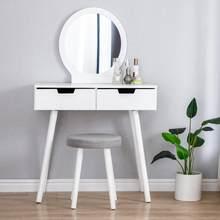 Mobília moderna do quarto penteadeira com tamborete e espelho 2 gaveta menina feminino maquina de maquiagem penteadeira 80x40x128cm hwc