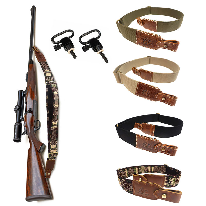 Hunting Rifle Gun Sling Belt Cotton & Leather Air Shotgun Shoulder Strap Adjustable Up To 119CM Tactical Gun Accessories