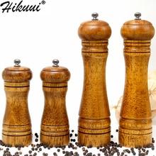 Hikuui clássico madeira de carvalho pimenta especiaria moinho moedor conjunto handheld tempero moinhos moedor moagem cerâmica núcleo conjunto ferramentas para churrasco