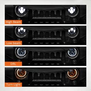 Image 3 - مصابيح أمامية للدراجة النارية 7 بوصة, ضوء LED منخفض و مرتفع الشعاع H4 HALO، بإشارات الدوران، و قدرة 60 واط، لدراجات جيب ورانجلر جي كي، تي دجي، لاند روفر، و هارلي.