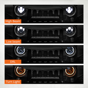 "Image 3 - Partol 7"" LED Headlights 60W High Low Beam LED H4 Halo Angel Eye DRL Amber Turn Signal for Jeep Wrangler JK TJ Land Rover Harley"