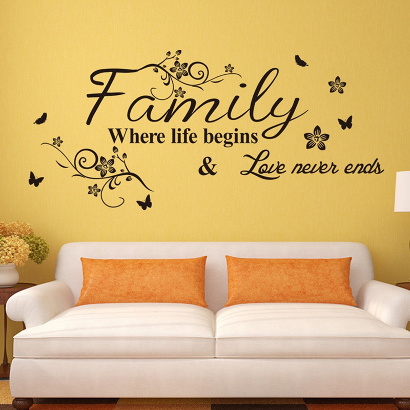 Removable Family Where Life Begins Floral Vines and Butterfly DIY PVC Wall Stickers Wall Decals Art Decoration Mural Home Decor