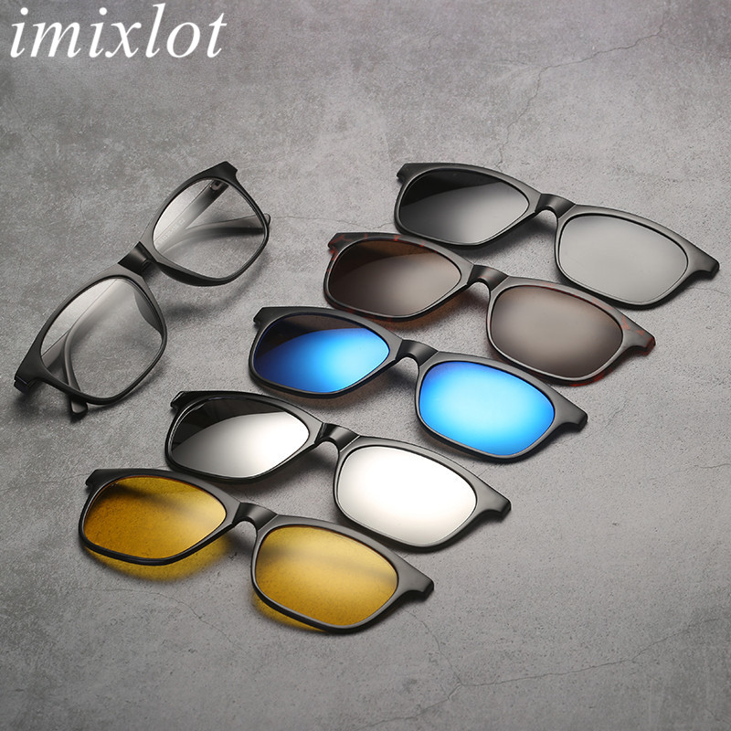 Imixlot Retro Classic Dual Use <font><b>5</b></font> <font><b>in</b></font> <font><b>1</b></font> <font><b>Magnetic</b></font> <font><b>Sunglasses</b></font> for Women <font><b>Men</b></font> <font><b>Clip</b></font> <font><b>On</b></font> <font><b>Sunglasses</b></font> Polarized <font><b>Magnetic</b></font> Glasses Frame image