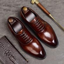 Мужские официальные туфли из натуральной кожи, оксфорды для мужчин, Итальянская Классическая обувь 2020, свадебные кожаные деловые туфли на ш...