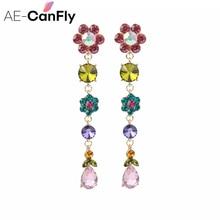 2019 Korean Elegant Colorful Rhinestone Drop Earrings  Long Chain Tassel Dangle  Drop Earrings for Women Jewelry Gifts beaded chain colorful fuzzy ball drop earrings