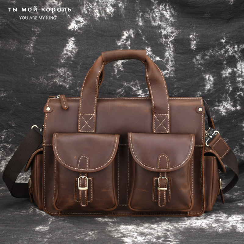 Vintage Crazy Horse Genuine Leather Men Briefcase For 14 Inch Laptop Purse Male Shoulder Crossbody Bag Office Business Handbag