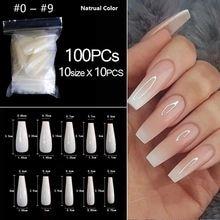 Rikonka 100 шт/пакет прозрачные белые накладные ногти в гробе
