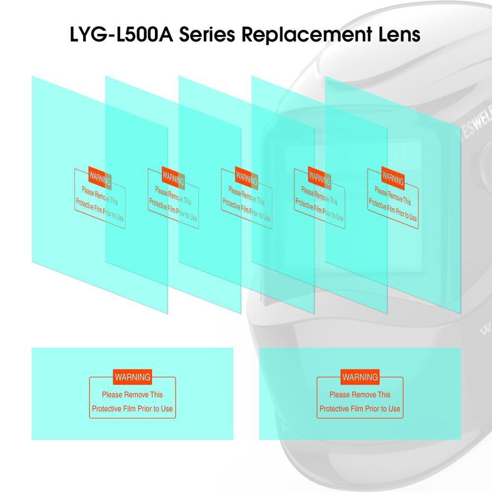 YESWELDER 5 Pcs Large Viewing Screen Outer Replacement Lens And 2 Pcs Inner Replacement Lens For LYG-L500A Series Welding Helmet