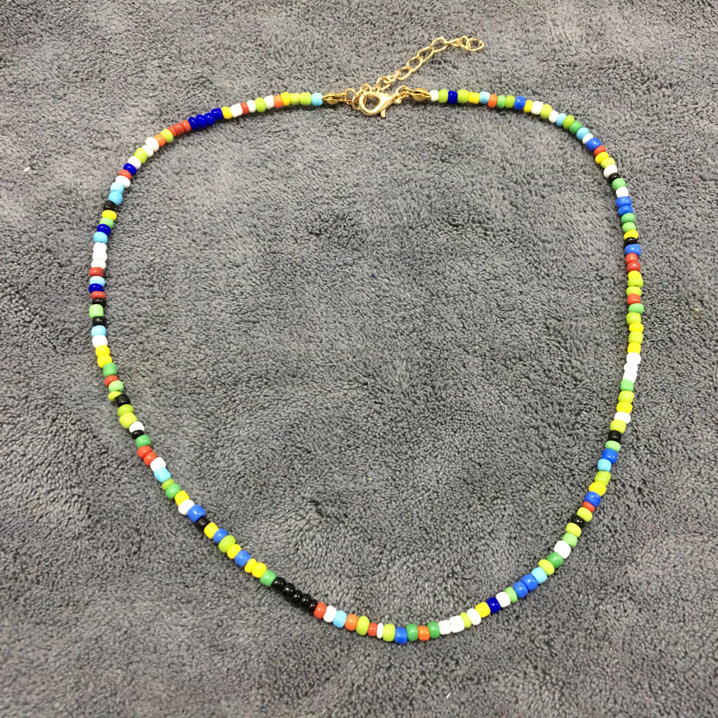 Simple Seed Beads Strand Necklace Women String Beaded Short Choker Necklace Jewelry 16 inches Chokers Necklace Gift