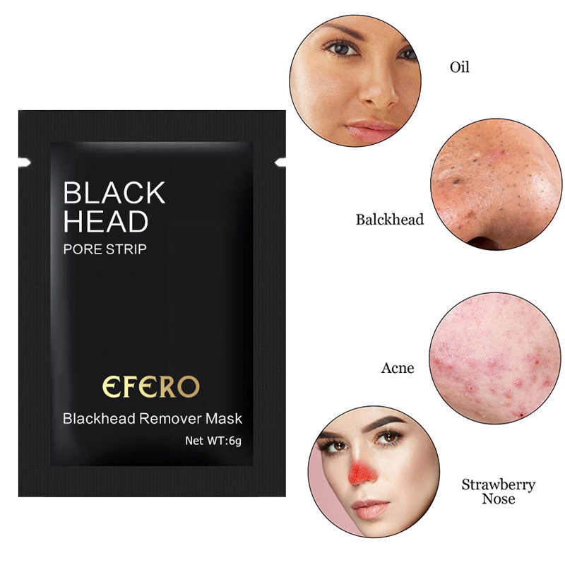 EFERO 1Pcs Bamboo Charcoal Face Blackhead Remover Mask Forehead Nose Acne Black Dots Pore Cleansing Mask Peel-Off Mud Mask TSLM1