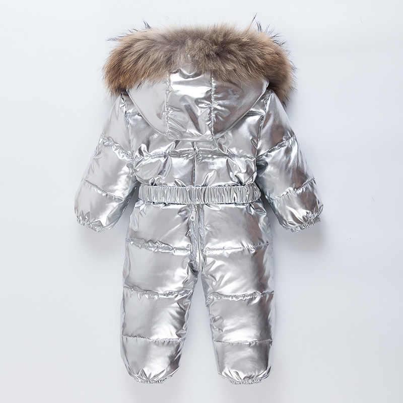 Winter baby unten jacken Kleiner junge der silber unten overall Kleines mädchen wasserdichte warme schnee anzug Natürliche waschbären pelz kragen 0-2T