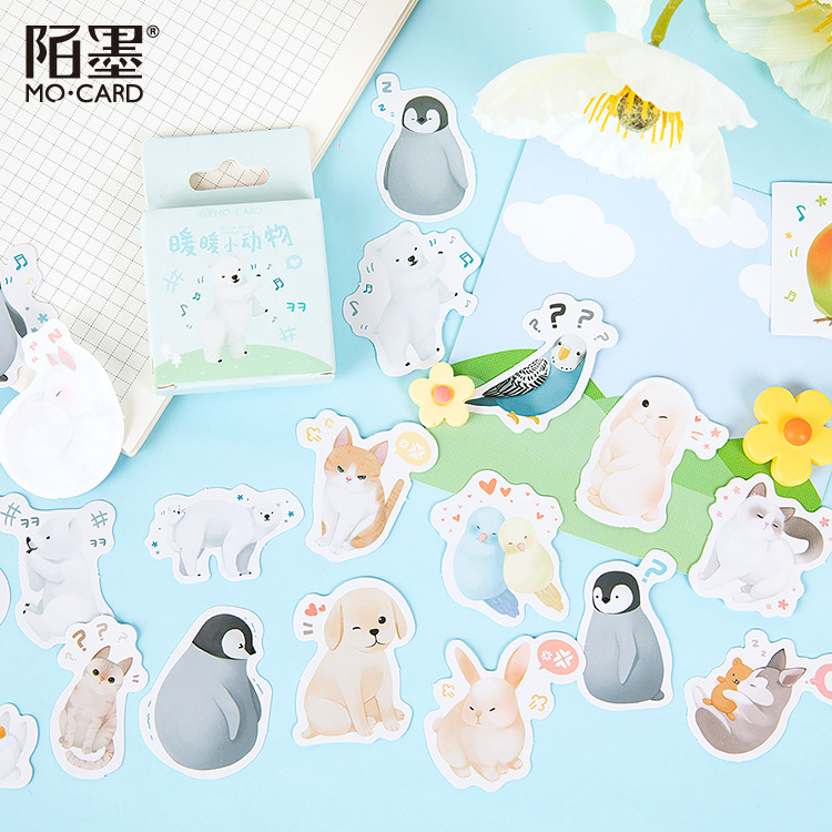 46pcs/pack Kawaii Stickers Animals Adhesive Stickers Album Diary Stick Label Decorations