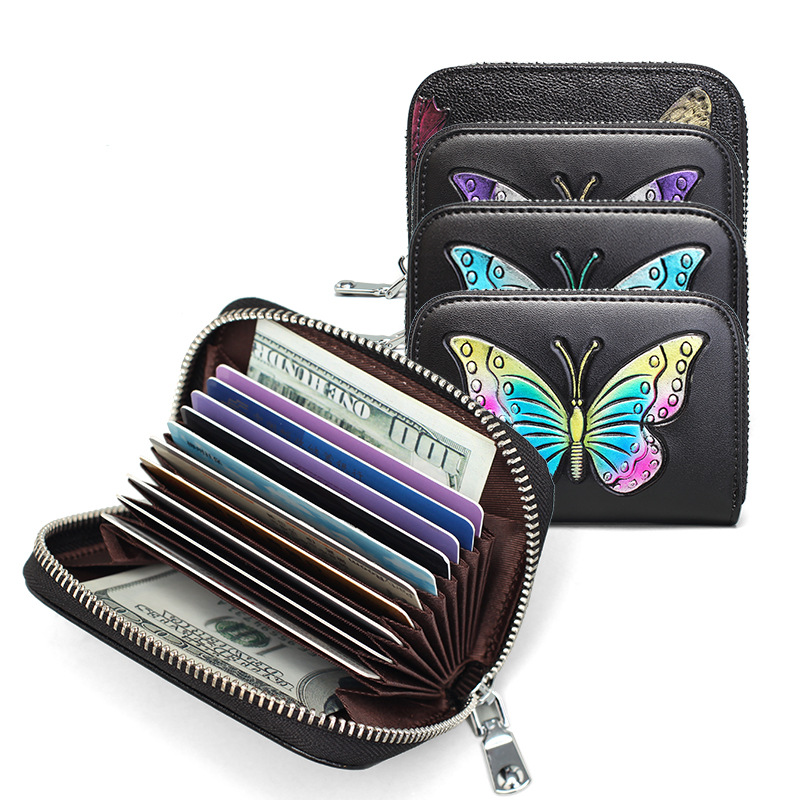 Faux Patent Leather Butterfly Print New Ladies Wallet Purse