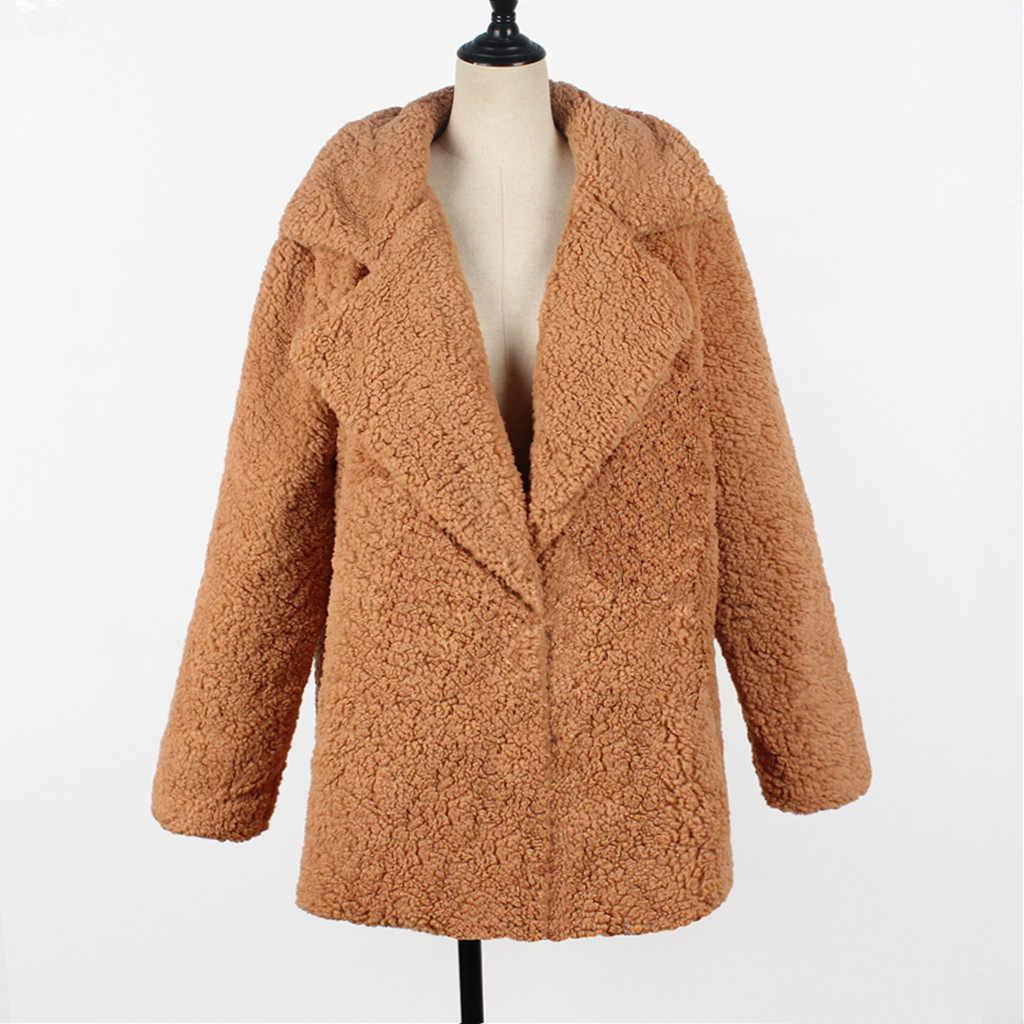 Cappotto di Inverno Caldo di Spessore Cappotto Donna Risvolto Manica Lunga Fluffy Peloso Finta Pelliccia Giubbotti Femminile Cappotto Cappotto 19Sep25