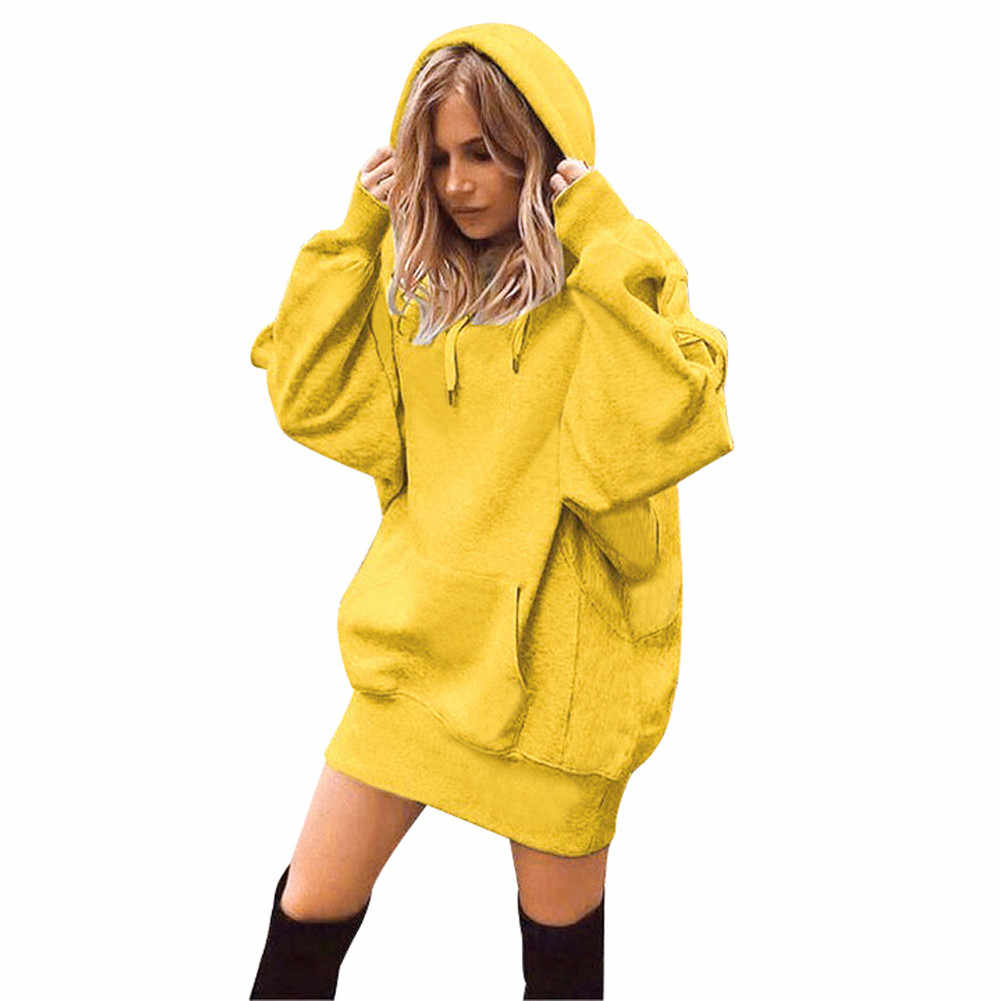 25#Hooded Hoodies Dress Women 2019 Autumn Winter Sweatshirts Long Sleeve Hoodies Pockets Sweatshirt Hoody Pullovers Dress