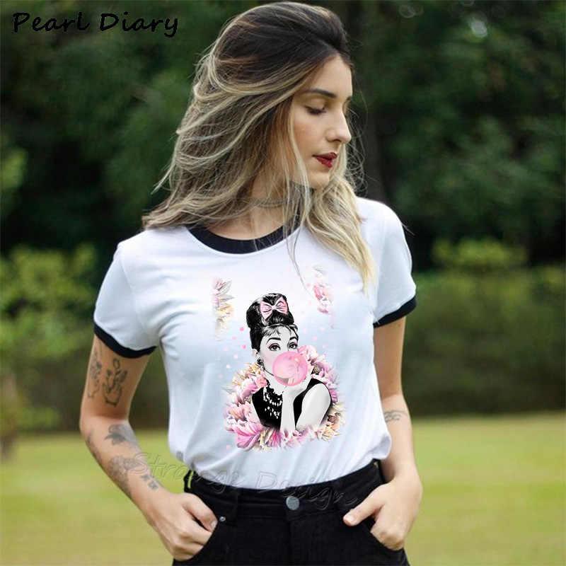נשים של חולצות T חולצה נשים 2019 קיץ חולצה קצר שרוול רטרו Hipster למעלה טי חולצה Femme פריז מודפס Tshirts