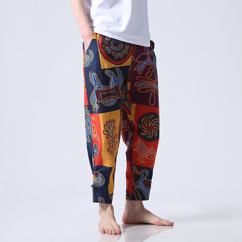 2019 Chinese-style Men's Trousers Frog Printed Capri Trousers Plus-sized Cotton Linen Nepal Harem Pants