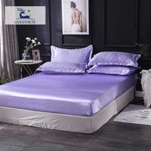 Liv-Esthete 1PCS Luxury Euro Fitted Sheet Purple Pure Silk Double Mattress Cover Elastic Band Adult Decor Rubber
