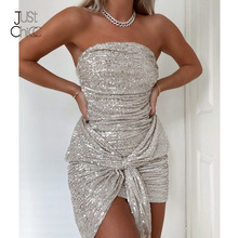Sequin Dress Pleated Strapless Bodycon Sexy Fashion Women Autumn Justchicc