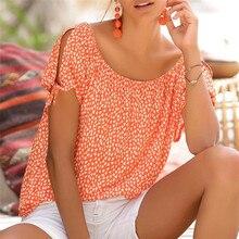 Laranja bonito carmen estilo impressão feminina topos e blusas verão fora do ombro o pescoço manga curta laço de ombro detalhe blusa feminina