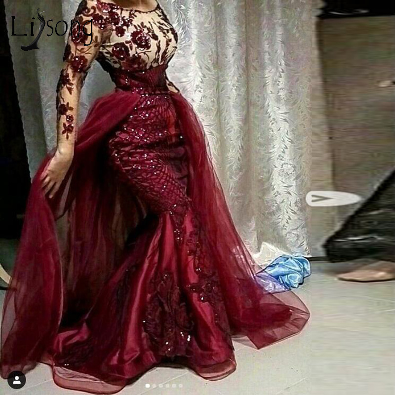 Burgundy Sequined Floral Lace Mermaid Prom Dresses With Detachable Train Modest Full Sleeves Prom Gowns Muslim Formal Dresses