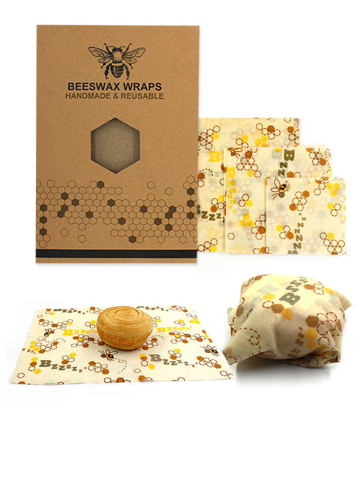 3 pieces / set of reusable beeswax cling film food packaging storage bag lid stretching food beeswax packaging kitchen tools
