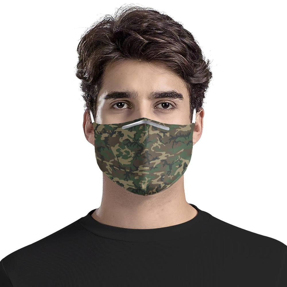 4Pcs PM2.5 Filter Masks Carbon Insert  Anti-dust Masks Camouflage Trendy Pattern Reusable Face Mask Customizable Riding Masks