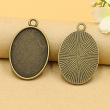10pcs/lot Antique Bronze Metal Oval Cabochon Settings Jewelry Tray Pendant Bezel Blanks For DIY Necklaces Making Accessories