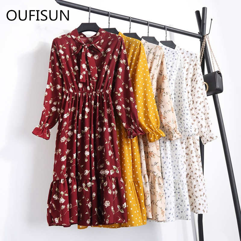 Oufisun 2020 Autumn New Print Slim Long Dress Fashion Ruffles Empire Party Dress Casual Womens Full Sleeve Lace Up Maix Dresses
