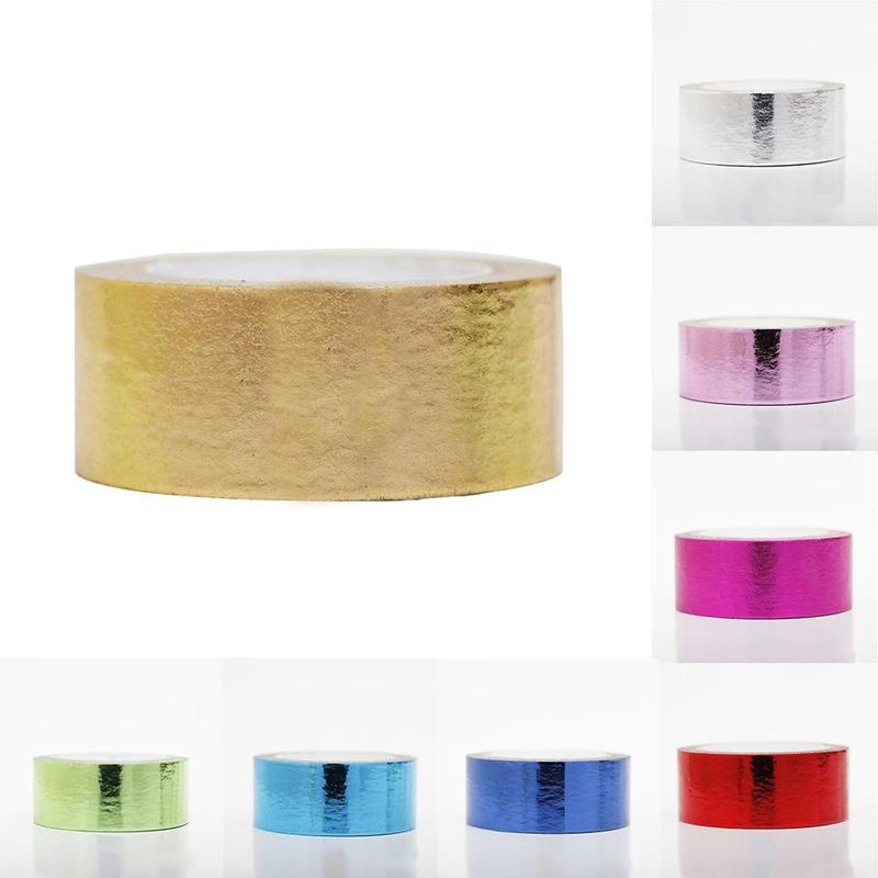15mm*10m Gold Foil Washi Tape Silver/Gold/Bronze/Rose/Green Color Kawaii DIY Scrapbooking Tools Masking Tape Student Stationary