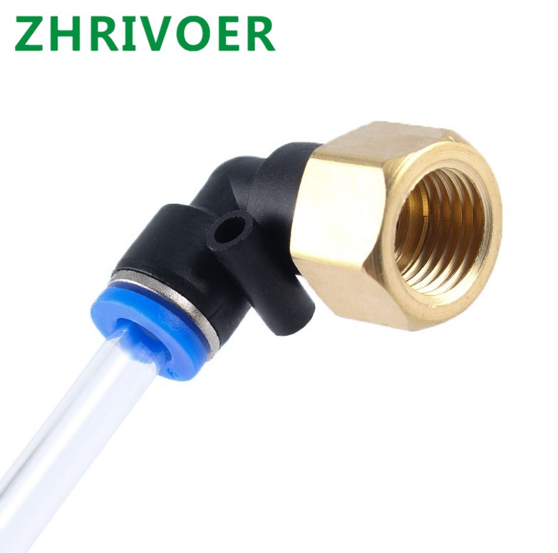Juijnkt PLF Hose OD 4-12Mm Internal Thread M5 1//8 1//4 3//8 1//2 Pneumatic Female Elbow Connector Tube Air Push in Fitting 12mm OD Hose 3//8