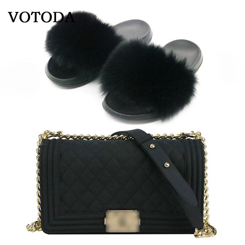 Luxury Female Cool Shoes Bag Lady High-grade Fur Fox Fur Bag Shoulder Bag