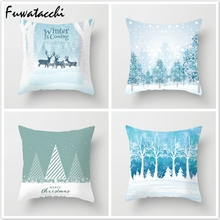 Fuwatacchi Deer Tree Pillows Cover Winter Style Cushion Christmas Pillow Case Snow Throw Home Decor for Sofa Car